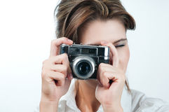 Camera girl. Picture of lovely girl with old rangefinder camera Stock Photos