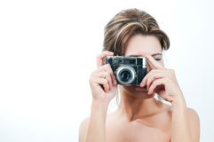 Camera girl. Picture of lovely girl with old rangefinder camera Royalty Free Stock Photography