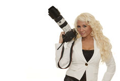 Camera and girl Royalty Free Stock Images