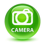 Camera glassy green round button Royalty Free Stock Images