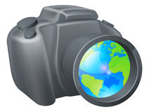 Camera globe concept Royalty Free Stock Photography