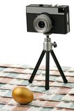 The camera and gold egg Royalty Free Stock Photos