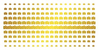 Camera Gold Halftone Matrix. Camera icon gold colored halftone pattern. Vector camera shapes are arranged into halftone grid with inclined golden gradient vector illustration
