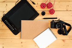 Camera and Graphic Tablet Stock Image