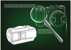 Camera on green. Background. Drawing. 3d model Stock Images