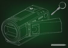Camera on green. Background. Drawing. 3d model Royalty Free Stock Photography