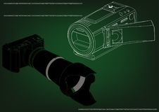 Camera on green. Background. Drawing. 3d model Royalty Free Stock Images