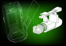 Camera on green. Background. Drawing. 3d model Royalty Free Stock Image