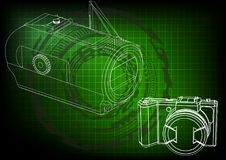 Camera on green. Background. Drawing. 3d model Royalty Free Stock Photos