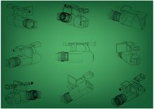 Camera on green. Background. Drawing. 3d model Stock Photos