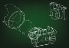 Camera on green. Background. Drawing. 3d model Stock Photo
