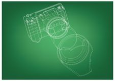 Camera on green. Background. Drawing. 3d model Royalty Free Stock Photo