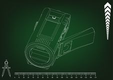 Camera on green. Background. Drawing. 3d model Stock Photography