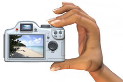 Camera In Hand. 3D illustration of a hand holding a digital camera. Please feel free to exchange my Antigua beach image with one of your own, if you wish Stock Image