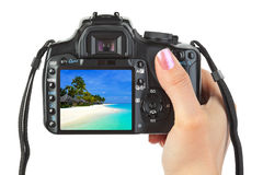 Camera in hand and beach landscape stock image