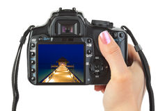 Camera in hand and beach landscape Stock Photography