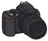 Camera. Hand drawing of a reflex digital camera Royalty Free Stock Image