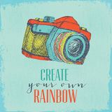 Camera hand drawn illustration. Hand drawn illustration of a vintage camera with motivating quotation. colorful vector illustration Royalty Free Stock Images