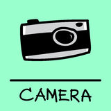 Camera hand-drawn style. Bird hand-drawn style,drawing,hand drawn, illustration Stock Images