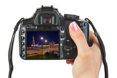 Camera in hand and Sevilla Spain view (my photo) Stock Photography