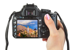 Camera in hand and Tenerife Canary view (my photo) Royalty Free Stock Photo