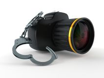 Camera with handcuffs. Isolated on white background. 3d illustration Stock Photography