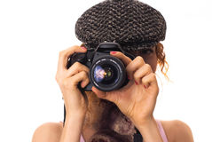 Camera in the hands of a girl. Digital camera in the hands of a girl Royalty Free Stock Image