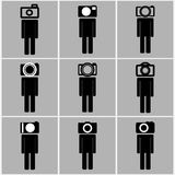 Camera head men set concept ideas Royalty Free Stock Images