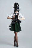 Camera head woman with lots of cameras hanging on her neck Stock Photography