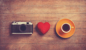 Camera,heart and cup Royalty Free Stock Image