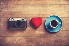 Camera, heart and cup Royalty Free Stock Image