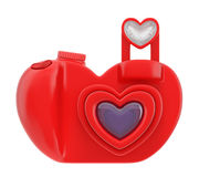 Camera heart icon. Photo camera heart love icon sign (creative app web element). Digital camera in the form of red heart with distinctive design as symbol of Stock Photos