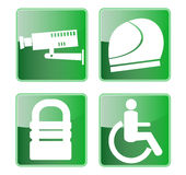 Camera helmet wheel chair icon Stock Photo