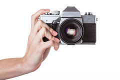 Camera holding Royalty Free Stock Photo