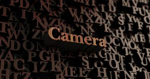 Camera - Houten 3D teruggegeven brieven/bericht Royalty-vrije Stock Fotografie