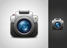 Camera icon. Vector illustrated camera icon on light and dark background Royalty Free Stock Photography