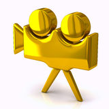 Camera icon, 3d. Blank golden retro camera icon, 3d image Royalty Free Stock Photography