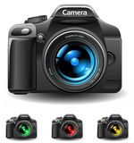Camera icon. Vector realistic photo camera 3 colors( no meshes, only gradients Royalty Free Stock Images