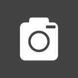 Camera icon on black background. Flat vector illustration Stock Images