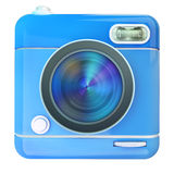 Camera icon blue. 3D rendering of a photo camera icon Royalty Free Stock Images