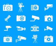 Camera icon blue set vector. Camera icon set. Simple set of camera vector icons for web design isolated on blue background Royalty Free Stock Image