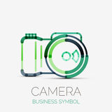Camera icon company logo, business symbol concept. Vector camera icon company logo design, business symbol concept, minimal line design Stock Photo