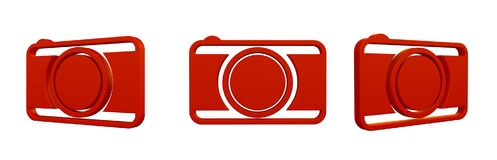 Camera icon. 3d rendering illustration of camera icon Royalty Free Stock Photography