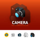 Camera icon in different style. Camera color icon, vector symbol in flat, outline and isometric style  on blur background Stock Image