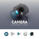 Camera icon in different style. Camera color icon, vector symbol in flat, outline and isometric style isolated on blur background Royalty Free Stock Photo
