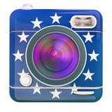 Camera icon Europe. 3D rendering of a photo camera icon with European Union flag colors Royalty Free Stock Image