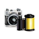 Camera icon and film role isolated Royalty Free Stock Image