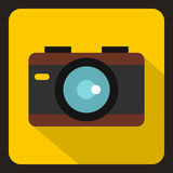 Camera icon, flat style. Camera icon in flat style with long shadow. Device symbol vector illustration Royalty Free Stock Images