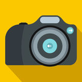 Camera icon in flat style. On a yellow background Royalty Free Stock Image