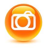 Camera icon glassy orange round button Royalty Free Stock Photos